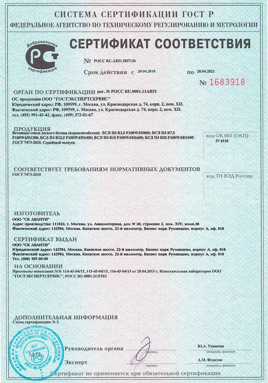 Сертификат на бетонную смесь м200 растворы строительный производитель